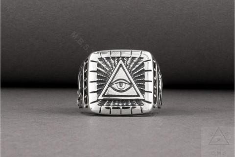 Silver Masonic Ring   Eye of Providence