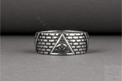 Unique  Silver Masonic Ring   Eye of Providence  and 2 Square & Compasses on a Brick Wall  Design