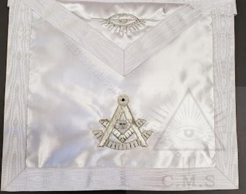 Past Masters  Apron  White   satin  size 13 x 15  inch