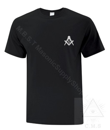 Tee Shirt  Small Square & Compass Design  Assorted Colors   Sizes   Small to 6XL!