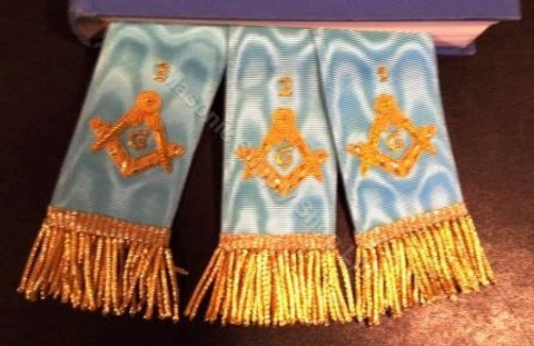 Bible Markers - Hand Embroidered  Light Blue & Gold   Numbers         Discontinued