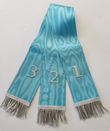 Bible Markers - Hand Embroidered Light Blue & Silver   Numbers   Discontinued line