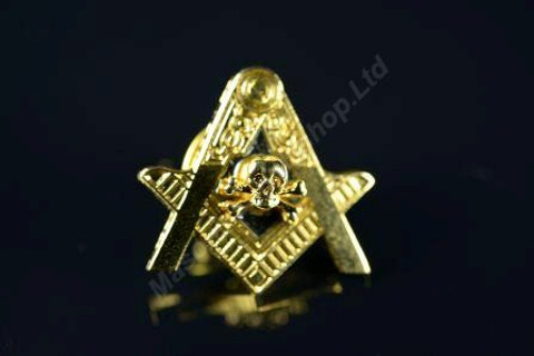Lapel pin Square & Compass with  Skull & Crossed Bones