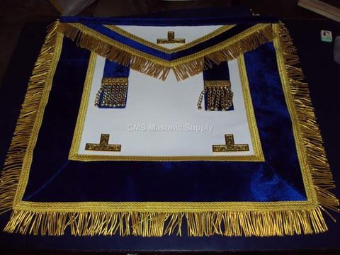 Past Master Apron Royal Blue with Fringe