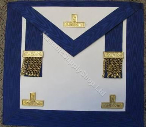 Past Master Masons Apron Royal Blue  with Gold Ornaments