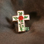 Lapel pin Rose on Cross