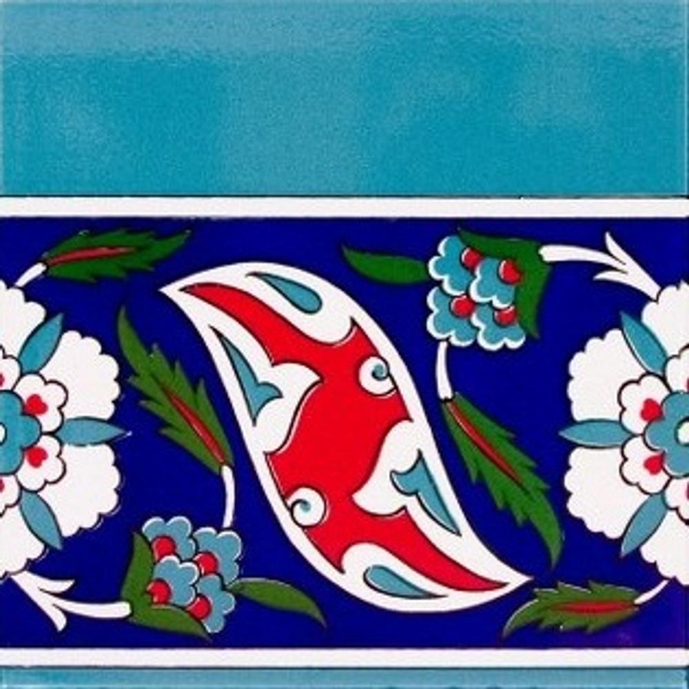 Ceramic wall tile with Iznik Art