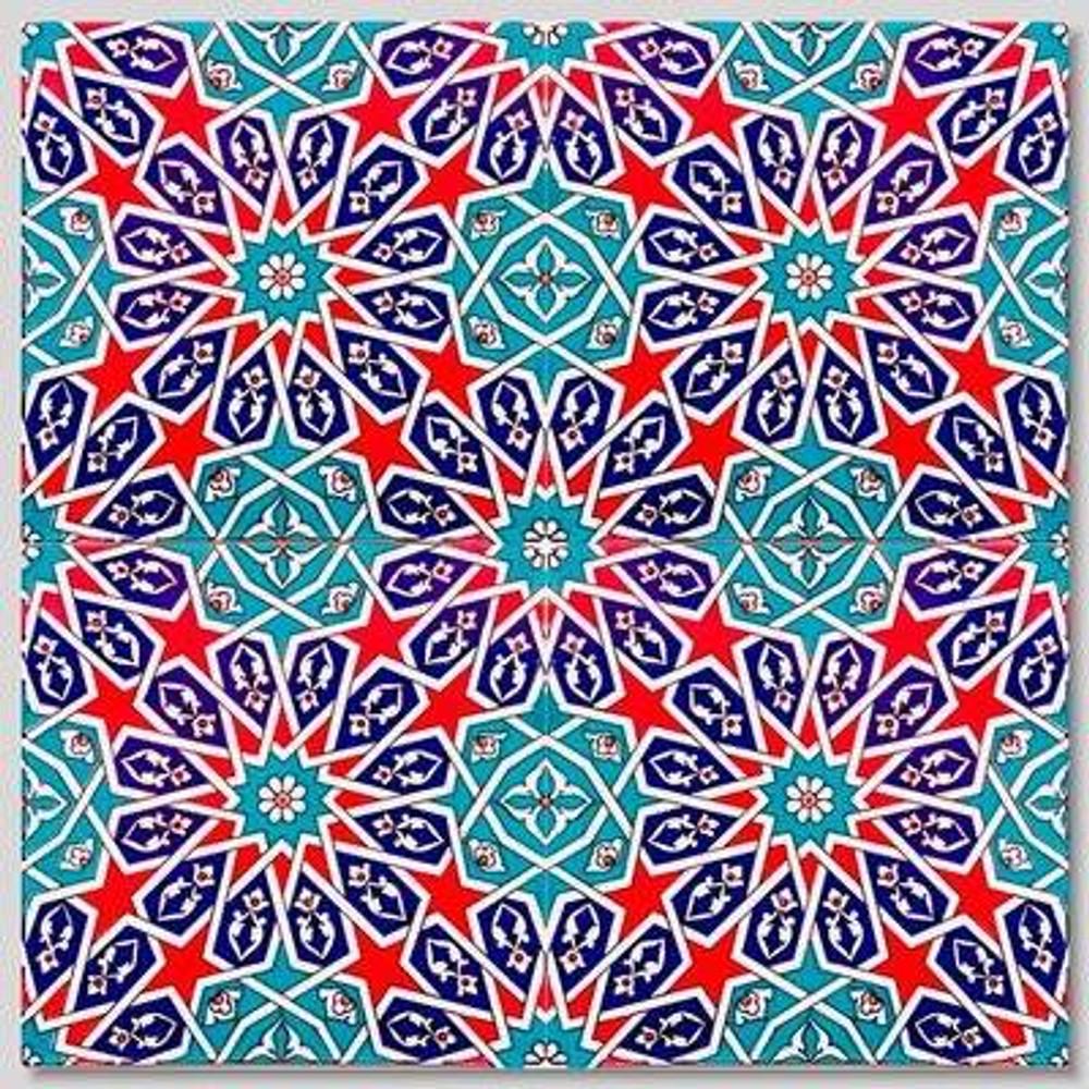 "4piece continuous geometric pattern tile layout 40x40cm (16""x16"") by ShopTurkey"