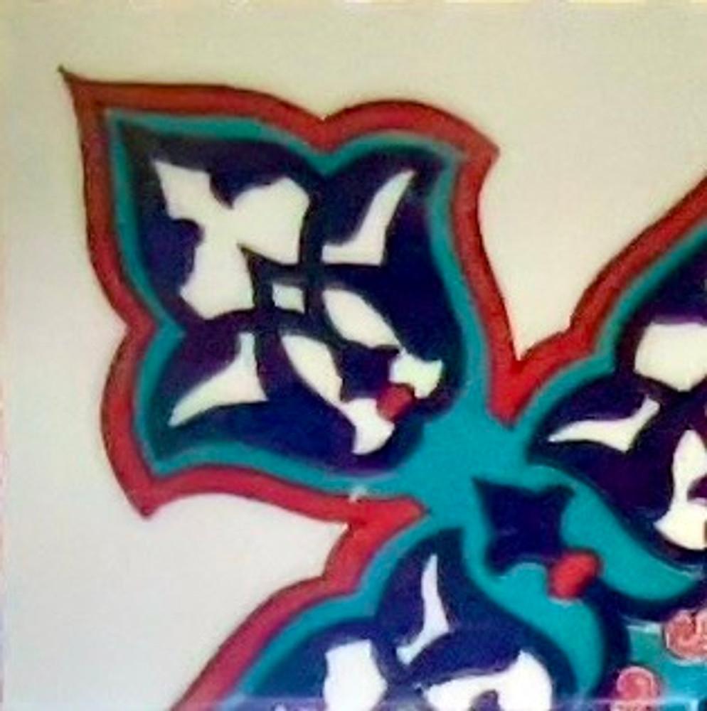 Iznik Art Ceramic Corner Wall Tile 10x10cm