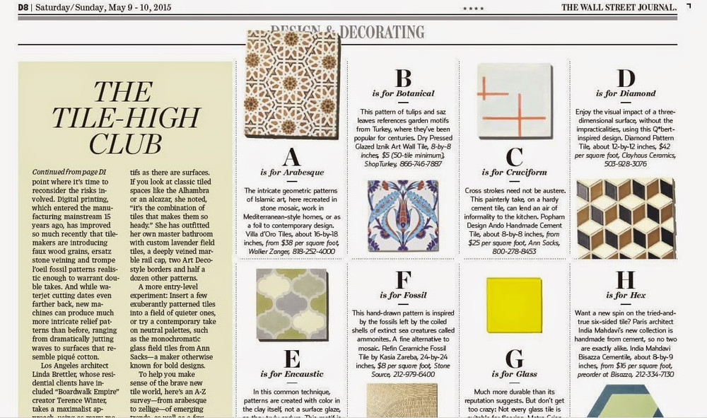 Featured in Wall Street Journal Tile Article 2015