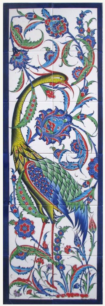 2x6pc traditional Iznik Art Ceramic Tiles 40cm x 120cm