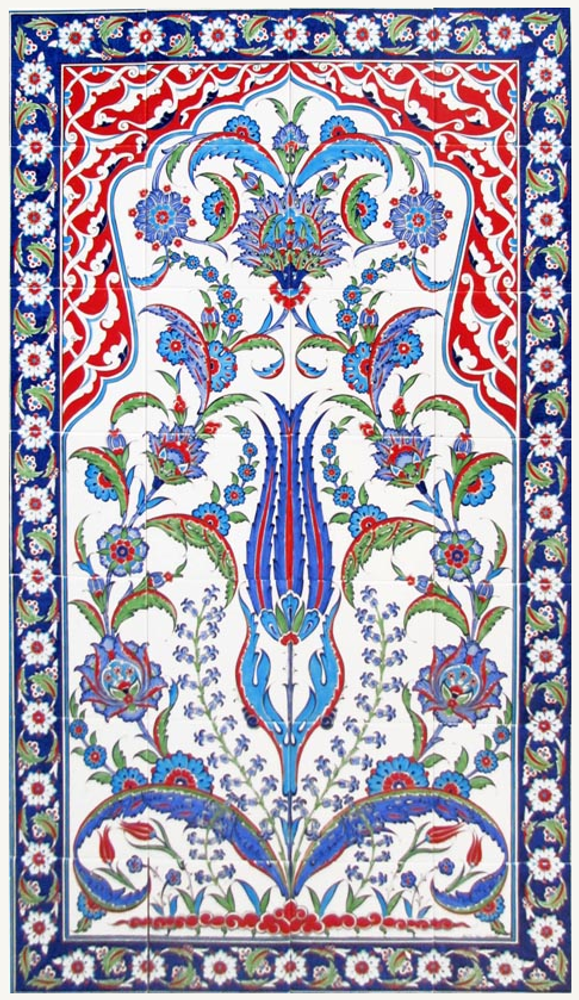 80x140cm - Traditional Iznik Tile Art Ceramic Wall Panel