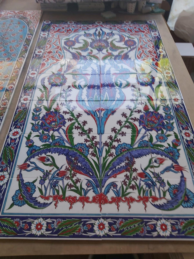 Hand painted glazed 80x140cm - Traditional Iznik Tile Art Ceramic Wall Panel