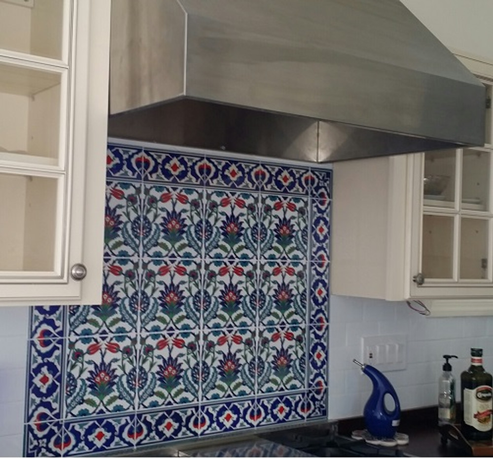 Kitchen North Bergen, New Jersey, USA Floral Pattern with 41 - Border Tile