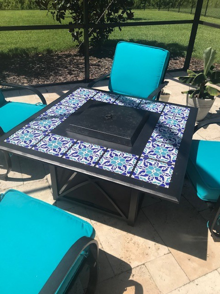 Aforetime tiled fire pit table.  Courtesy of client Lutz, Florida USA