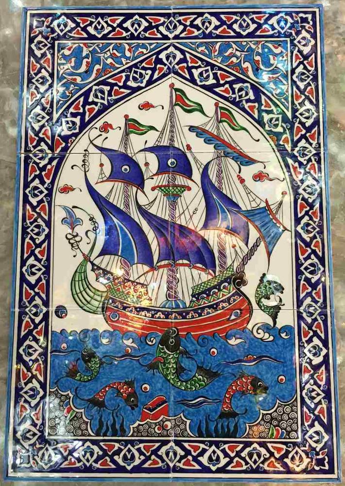40x60cm Iznik Art Ceramic Tile Galleon  for Kittitas, WA. USA