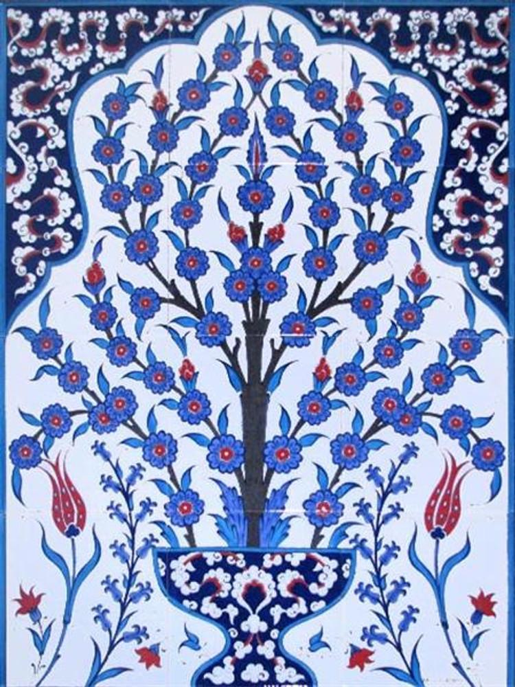 Blue Life Floral Art Ceramic Tile Wall Panel