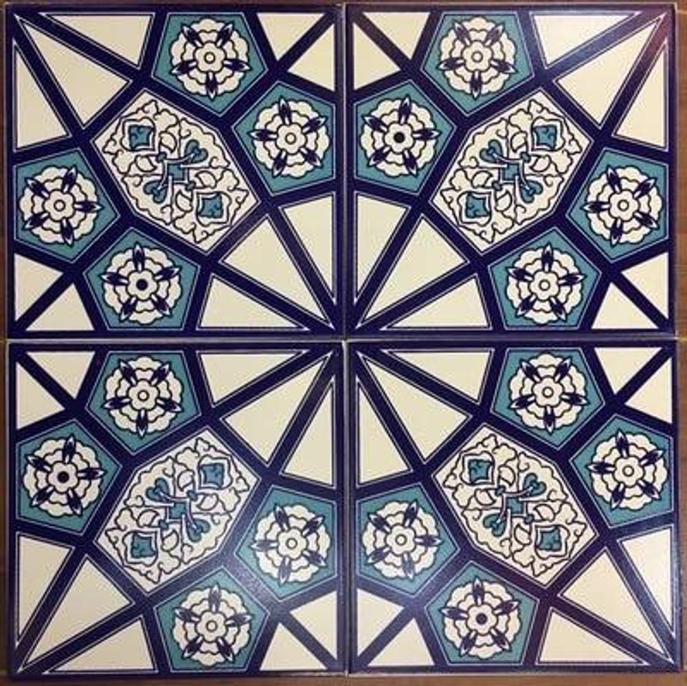 Geometric floral pattern floor tile for bathroom or kitchen floor from ShopTurkey