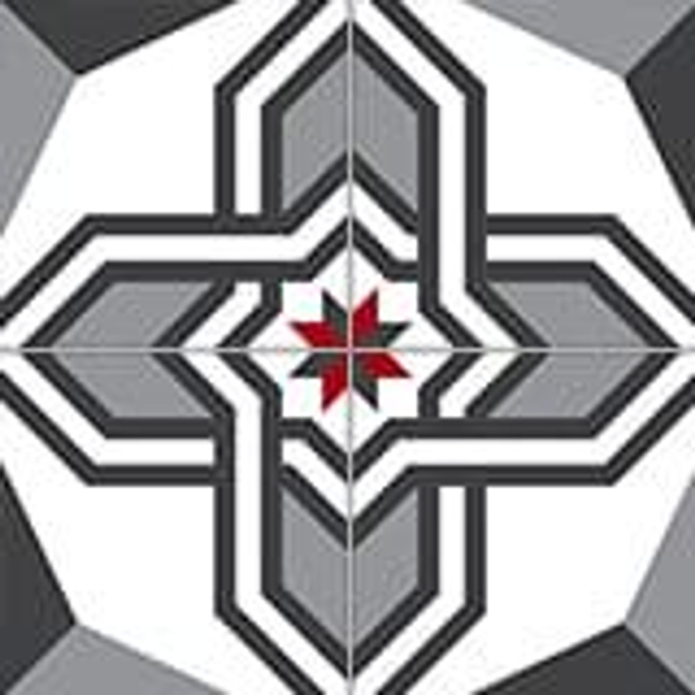 20x20cm Geometric Patterned Floor Tile 4 pc tile outlay here 40x40cm total dims