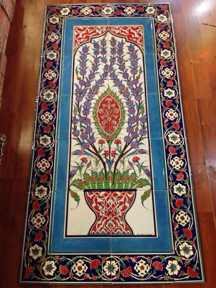 28 pc ceramic wall mural traditional Iznik designs of the past