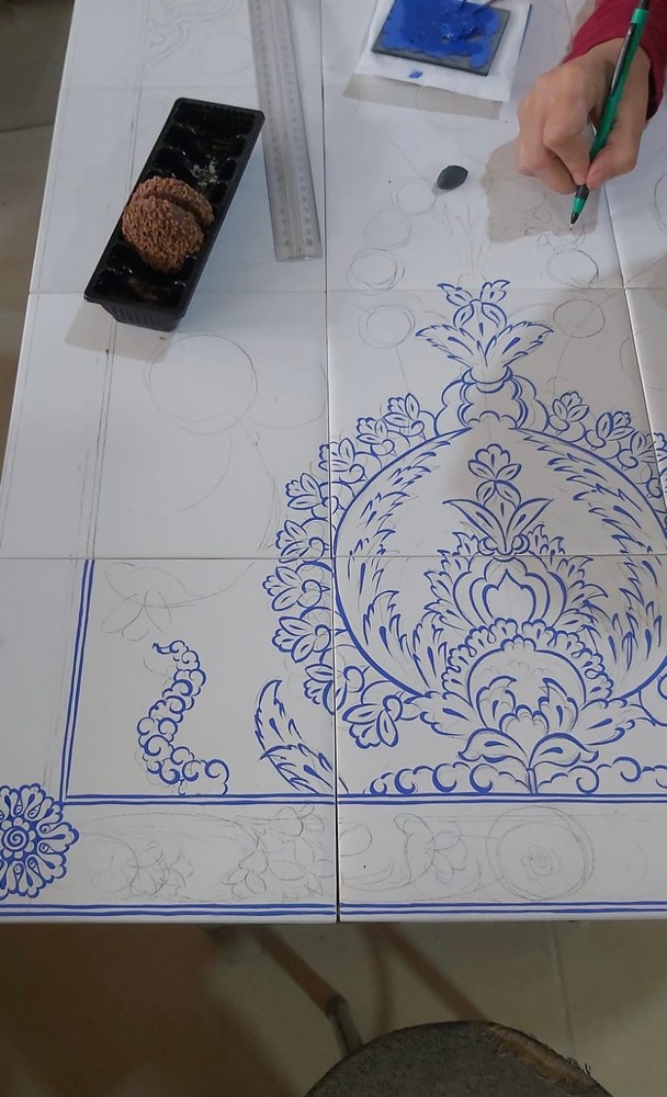 Hand painted Iznik Quartz Wall Mural sized to your needs, only from ShopTurkey.com