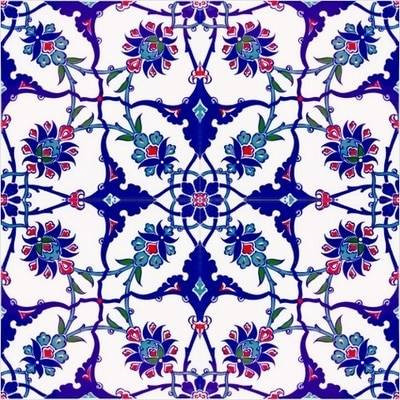 4pc continuous floral pattern ceramic wall tiles for wall