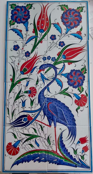 Turkish Ceramic Tile Wall Mural Tulip Bird Wild Spring from ShopTurkey