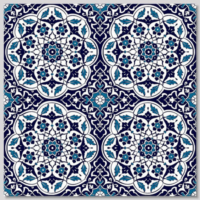 "Continuous pattern 4pc 40x40cm (16x16"") Turkish Floral Design Wall Tiles"