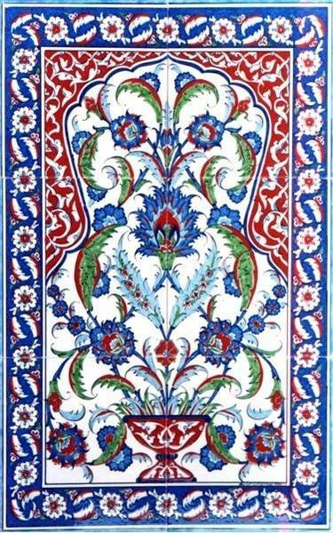 2x3 pc tile hand painted traditional Turkish Tiles Ceramic Wall art with Iznik Designs