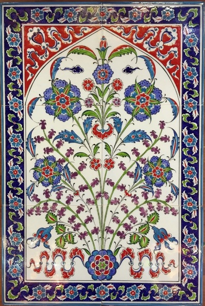 40x60cm hand painted Ceramic Wall Iznik Floral Art Tile Mural