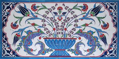 160x80cm - Flourish Ceramic Tile Mural Backsplash