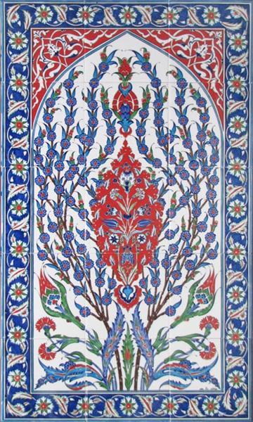 Iznik Floral Art Ceramic Tile Mural