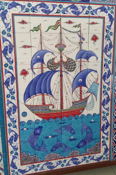 80x120cm - Sea of Bounty Iznik Tile Backsplash Art Ceramic Tile Wall Mural