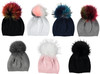 Baby Solid Knit Beanie w/ Multicolor Pompom - HT-BB10