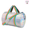 Top Trenz Iridescent Puffer Duffel Bag with Pink Straps