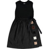 Girls Velvet Patches Black Knit Dress