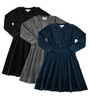 Girls Velour Ruffle Collar Dress