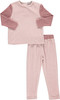 Girls Velvet With Ribbed Sleeves 2Pc Pajama