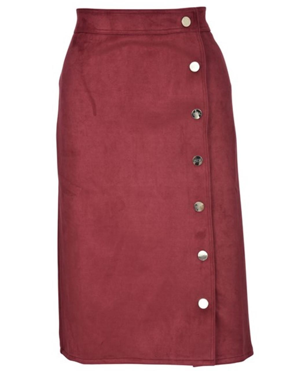 BGDK Ladies Suede Straight Skirt