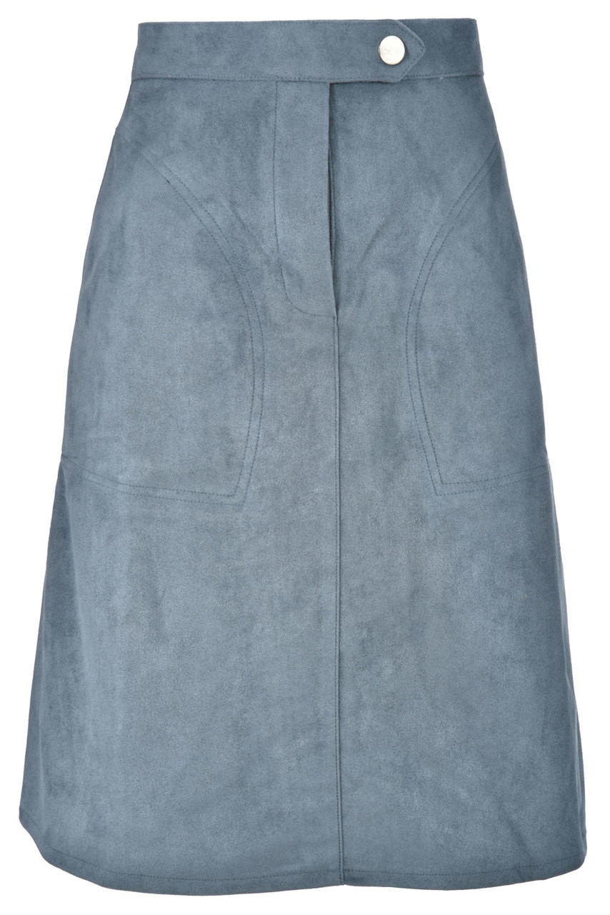 BGDK Ladies Single Button Suede Skirt