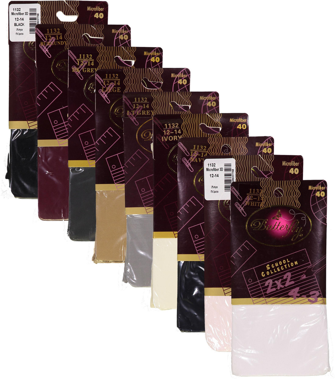 Butterfly Girls School Collection Microfiber 40 Opaque Tights