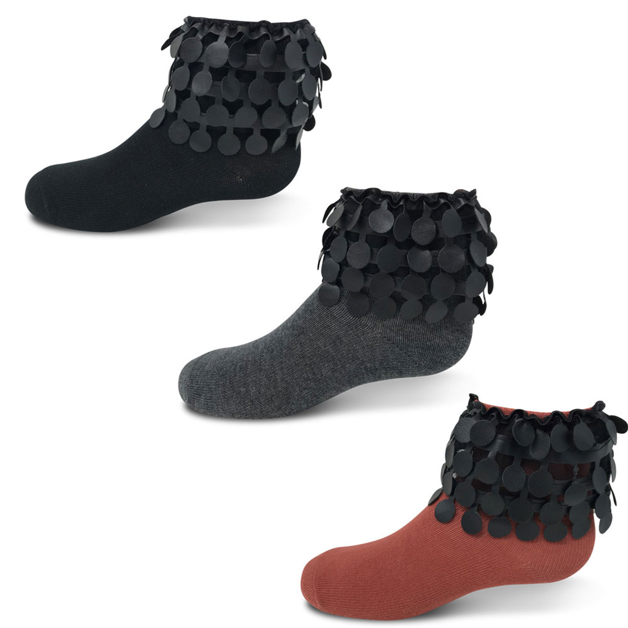 Zubii Leather Circles Ankle Sock