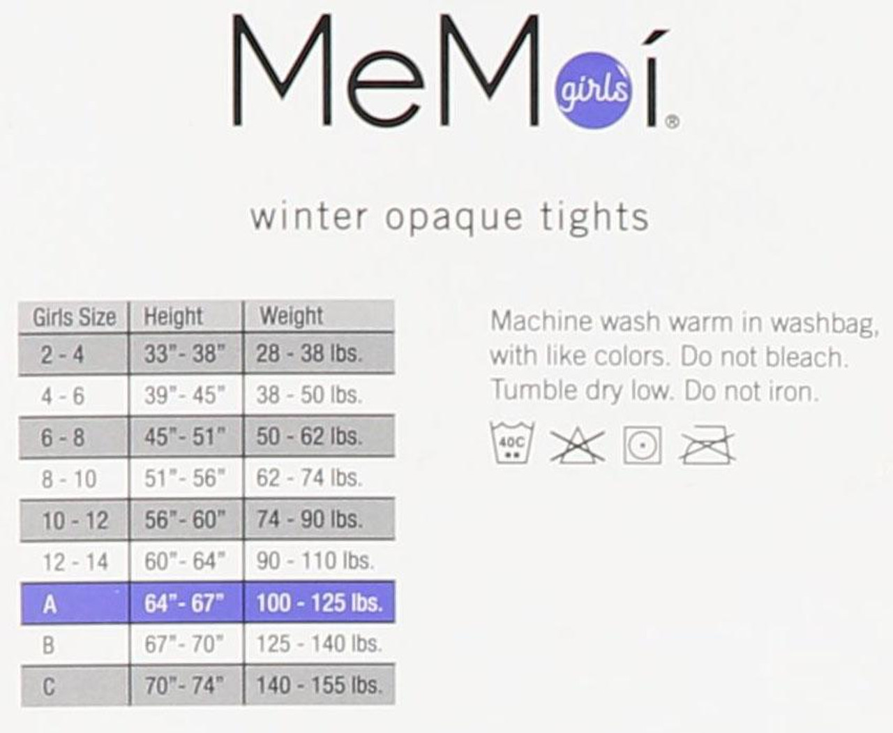 Memoi Girls Winter Opaque Tights
