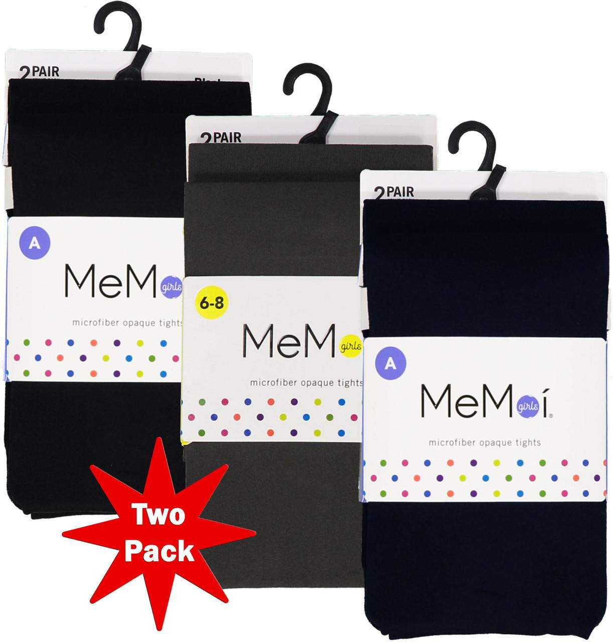 Memoi Girls Microfiber Opaque Tights 2-Pack