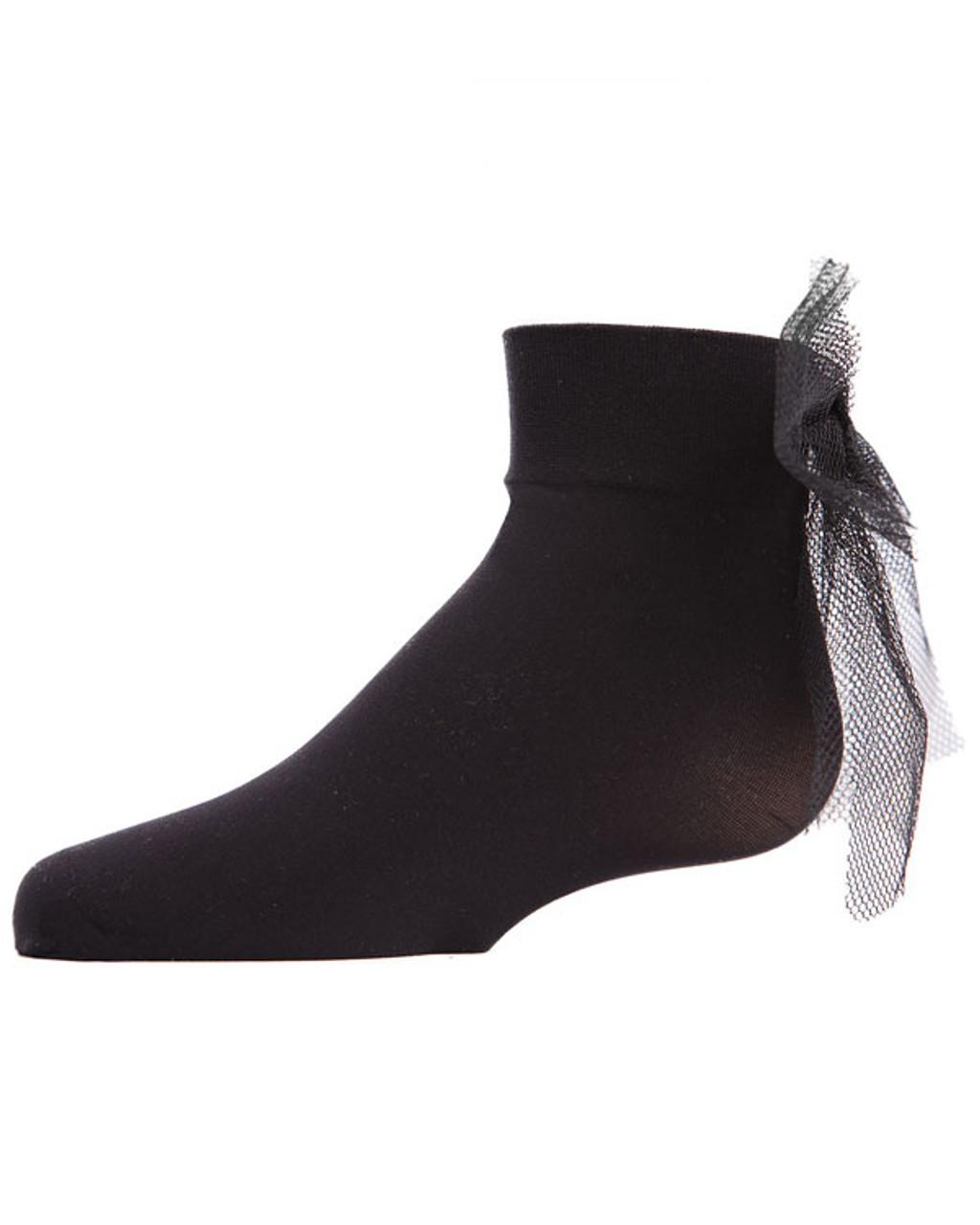 Memoi Tulle Bow Microfiber Anklet