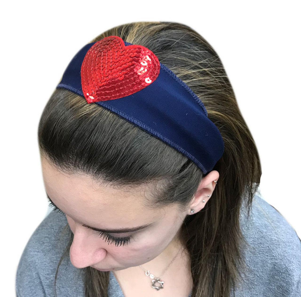 Red Sequin Heart Patch Headband