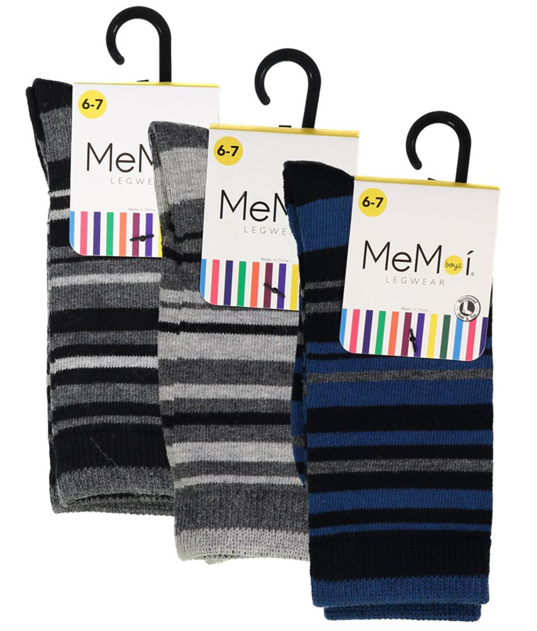 Memoi Boys Multi Stripe Dress Socks - Double Header USA