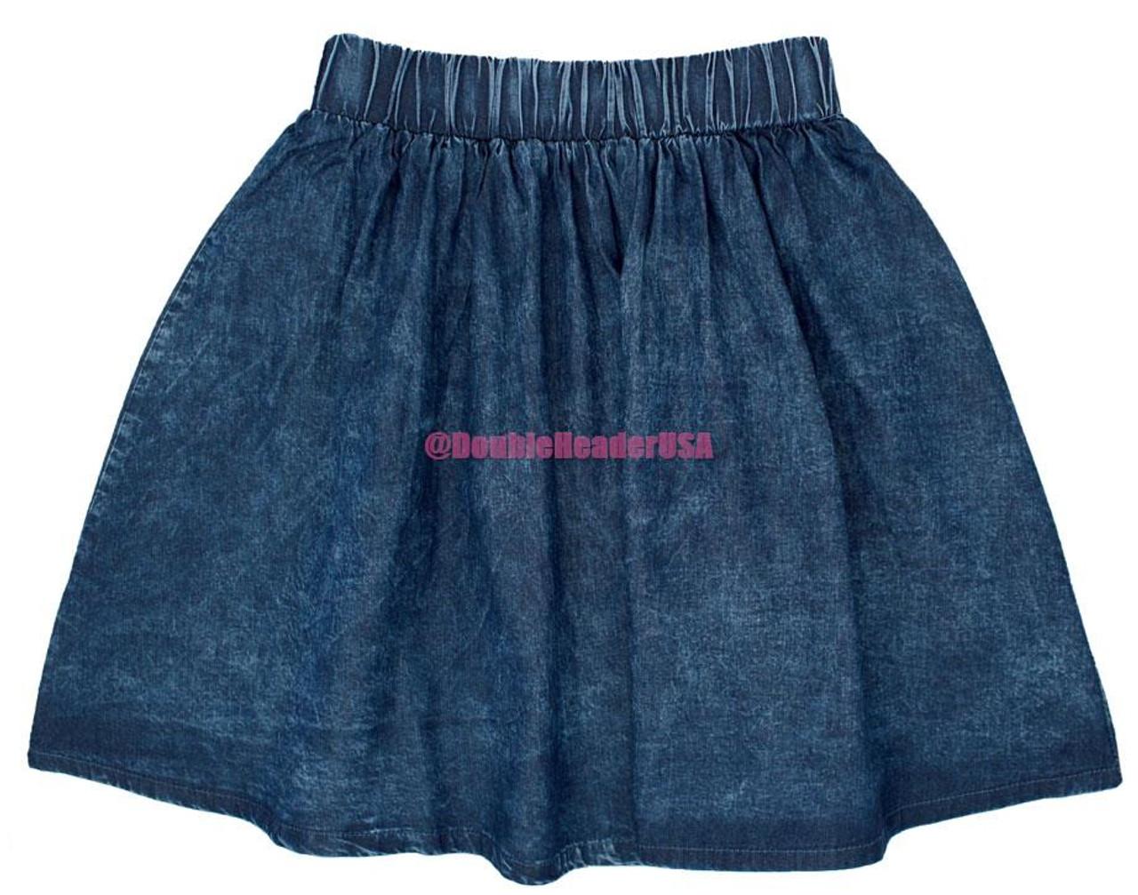 Martino Girl's Washed Denim Skirt