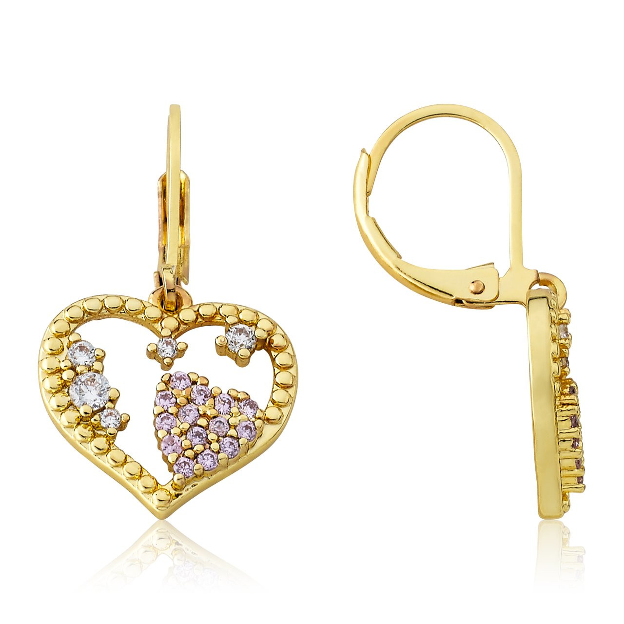 LMTS Girls Crystal Heart Leverback Dangle Earring