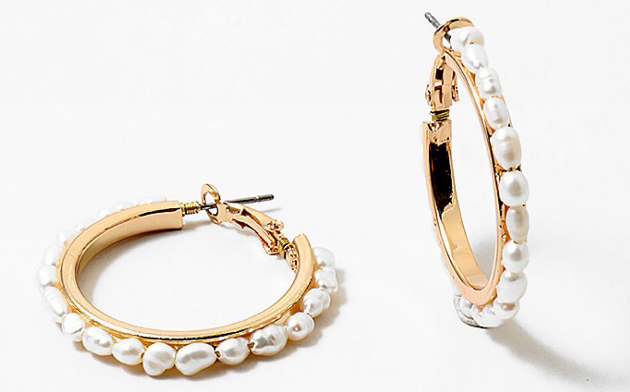 Riqki Women's Freshwater Gold Hoop Costume Earrings